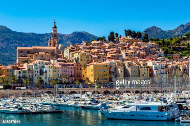 View of Menton from the harbor , Menton, French Riviera, France