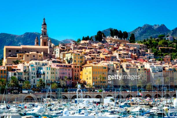 View of Menton from the harbor, Menton, French Riviera, France