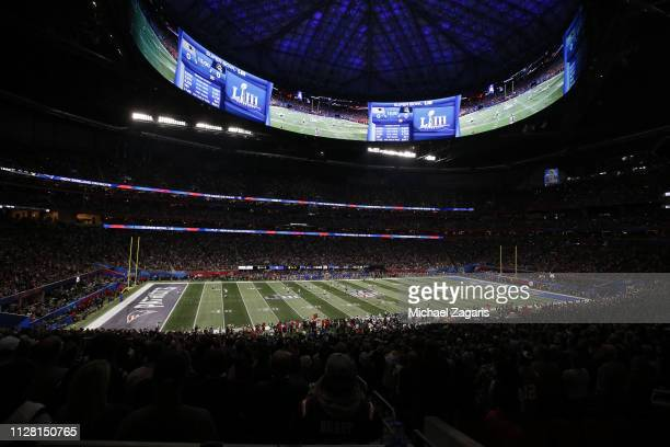 A view of MercedesBenz Stadium during Super Bowl LIII between the New England Patriots and the Los Angeles Rams on February 03 2019 in Atlanta Georgia