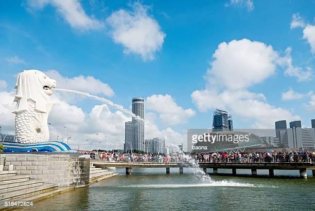 Vue sur la fontaine de la Merlion à Singapour