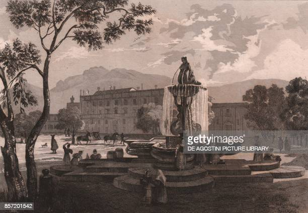 View of Mermaid Fountain with the Orleans Palace in the background Palermo Sicily Italy steel engraving ca 19x14 cm from L'Italia la Sicilia le isole...