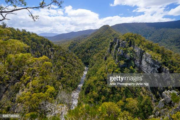 View of Mersey River and the Valley Through the Alum Cliffs Gorge, Mole Creek, Great Western Tiers, Tasmania, Australia