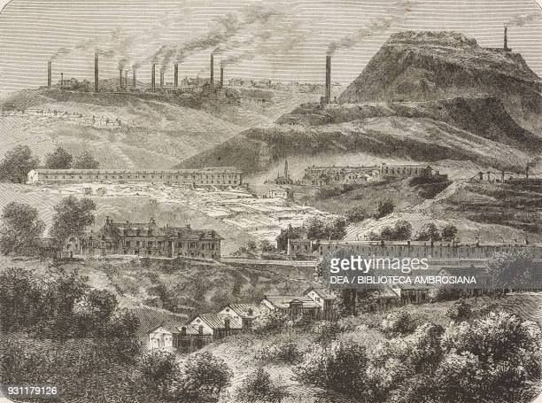 View of Merthyr Tydfil, United Kingdom, drawing by Jean-Baptiste Henri Durand-Brager from A visit to the great workshops of Wales by Louis Laurent...