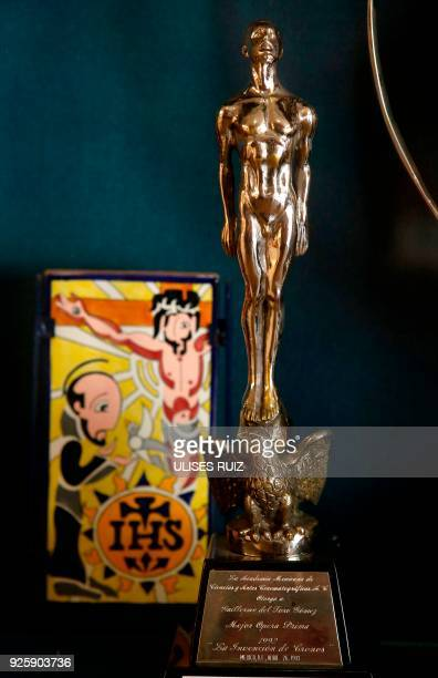 View of Mexican film award 'Ariel' received by mexican filmmaker Guillermo del Toro in Guadalajara Jalisco State Mexico on February 22 2018 / AFP...