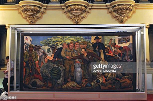 View of Mexican painter Diego Rivera's mural Glorious Victory on September 27 at the Palace of Culture in downtown Guatemala City The mural will be...