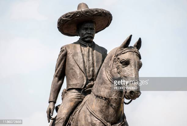View of Mexican revolutionary leader Emiliano Zapata's monument in Mexico City on April 8 2019 April 10 marks the 100th anniversary of the death of...