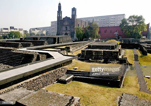 View of Mexico City's Three Cultures square with the Santiago Tlatelolco church at the back 09 January 2004 where new paintings done by the...