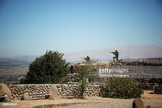 View of military decoy objects at the top of the Golan Heights where the UN base is.