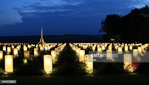 A view of military graves illuminated during part of a militaryled vigil to commemorate the 100th anniversary of the beginning of the Battle of the...