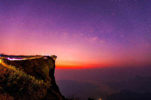 View of Milky way and mountain range from The peak of Phu Chi Fa hill - gettyimageskorea