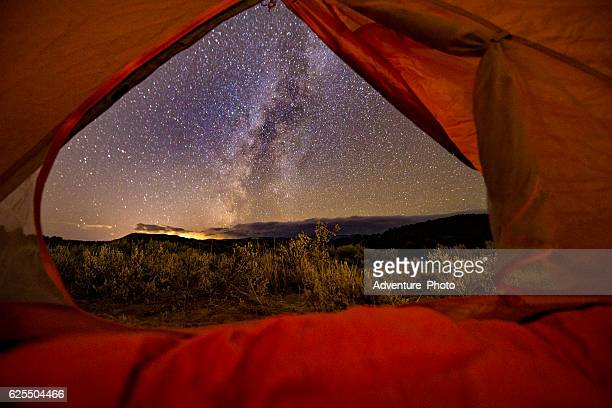 View of Milky Way Galaxy Looking Out Tent Camping