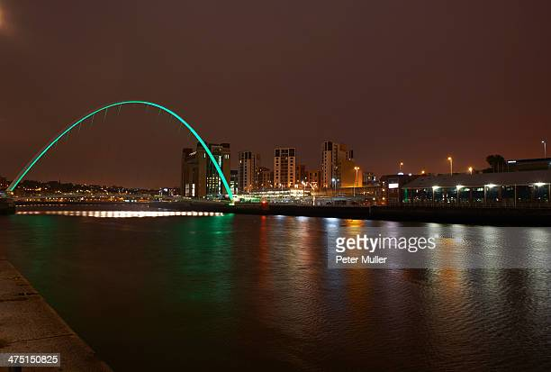 view of millennium bridge at night, newcastle upon tyne, united kingdom - newcastle united pictures stock pictures, royalty-free photos & images