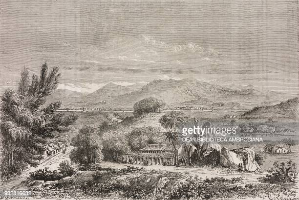View of Min valley near SuTscieu China drawing by Lancelot from a sketch by the British Minister to Japan RutherfordAlcock from Il Giro del mondo...