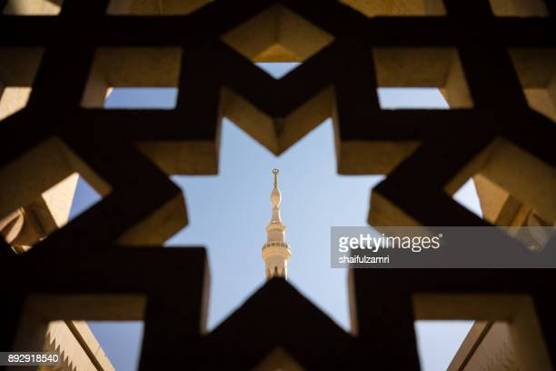 View of minaret in Mosque Al-Nabawi of Medina.