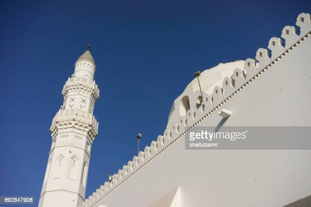 view of minarets and dome for masjid quba in medina,  saudi arabia. - shaifulzamri stock pictures, royalty-free photos & images