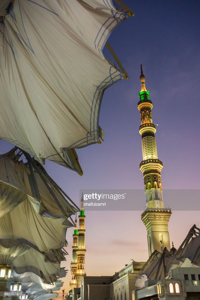 View of minarets of Mosque Al-Nabawi in Medina : Stock Photo