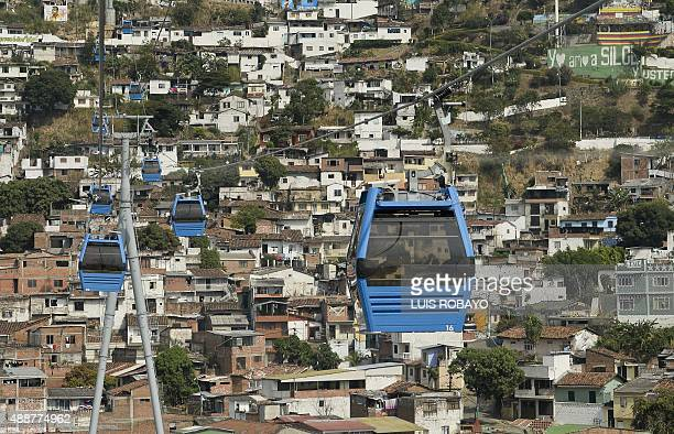 View of Mio Cable railway gondolas at the Siloe neighbourhood on September 17 in Cali Colombia With an investment of US $ 32 million the municipality...