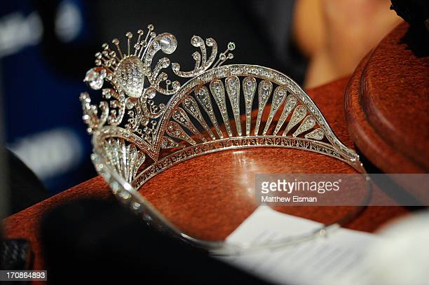 A view of Miss USA 2013 Erin Brady's crown during 'Sway in the Morning' on Eminem's Shade 45 channel in the SiriusXM Studios on June 19 2013 in New...