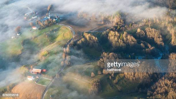 View of Misty Suburban Oslo landscape from Airplane
