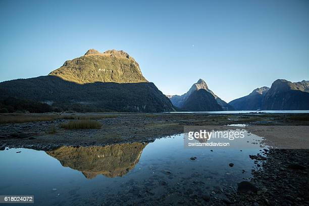 View of Mitre peak and mountains in Fiordland National park