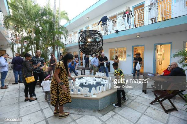 View of mixed media interactive installation by Rebecca Williams titled 'Live Your Truth' at Aqua Art Fair as part of the 2018 Art Basel Miami Beach...