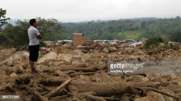 A view of Mocoa after the flood in Putumayo of Colombia on April 03 2017 At least 273 people lost their lives after three rivers in southern Colombia...