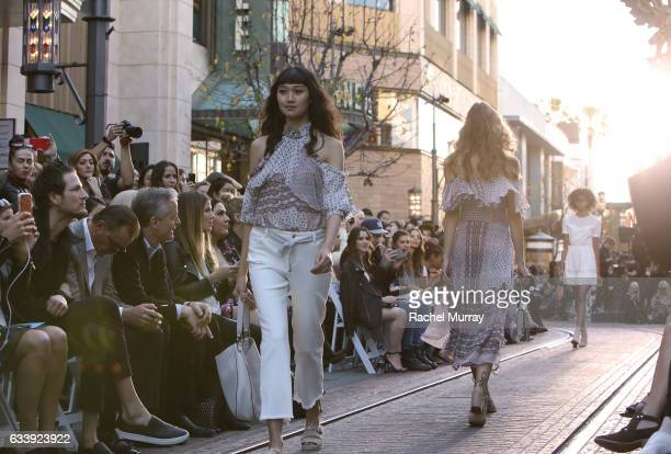 A view of models during designer Rebecca Minkoff's Spring 2017 See Now Buy Now Fashion Show at The Grove on February 4 2017 in Los Angeles California