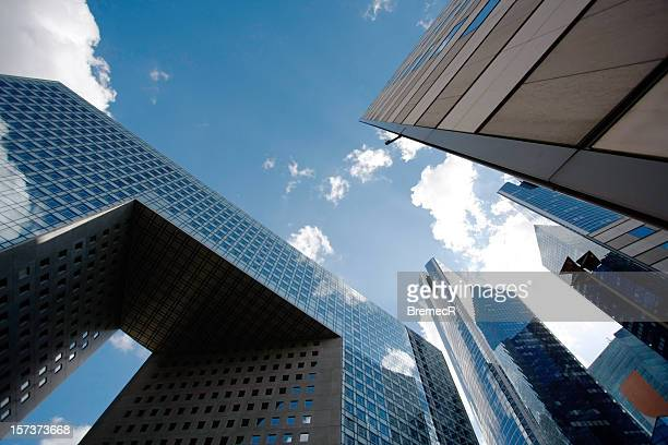 A view of modern architecture and the sky from the ground