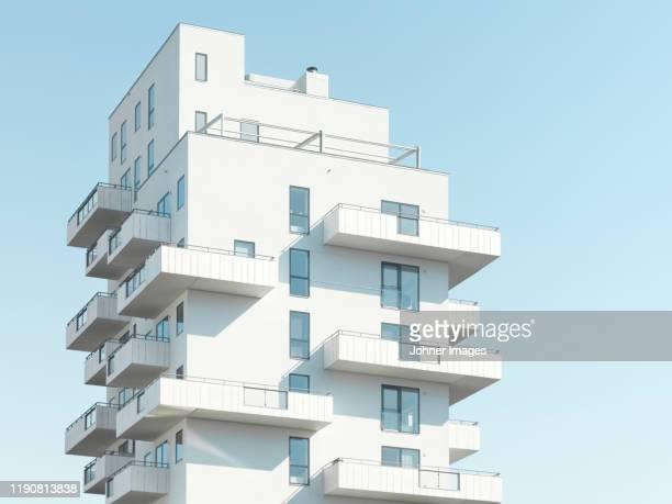 view of modern block of flats - appartamento foto e immagini stock