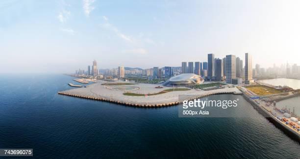 View of modern cityscape on coastline, Dalian, Liaoning, China