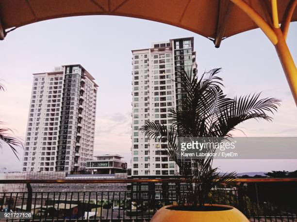 view of modern office buildings - davao city stock photos and pictures