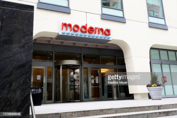 View of Moderna headquarters on May 08, 2020 in Cambridge, Massachusetts. Moderna was given FDA approval to continue to phase 2 of Coronavirus...