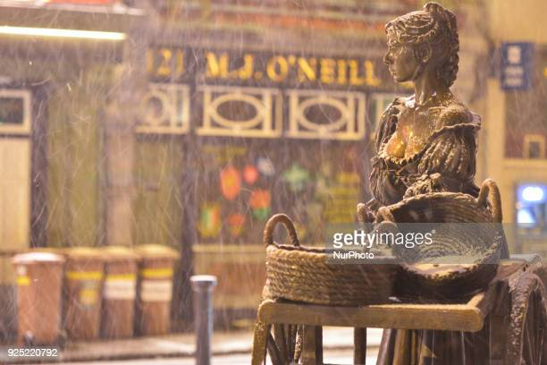 A view of Molly Malone statue as the 'Beast from the East' has hit Ireland with temperatures plunging to 3C tonight and snow showers along with a...