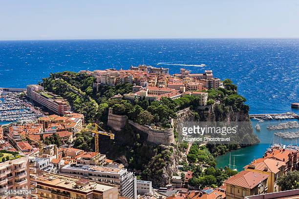 view of monaco ville (monaco town, called also la rocher) from the moyenne corniche - monte carlo stock pictures, royalty-free photos & images