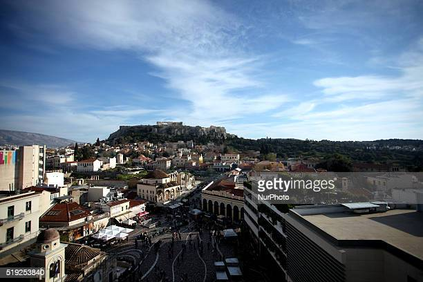 View of Monastiraki square Plaka area and Acropolis Athens April 1 2016