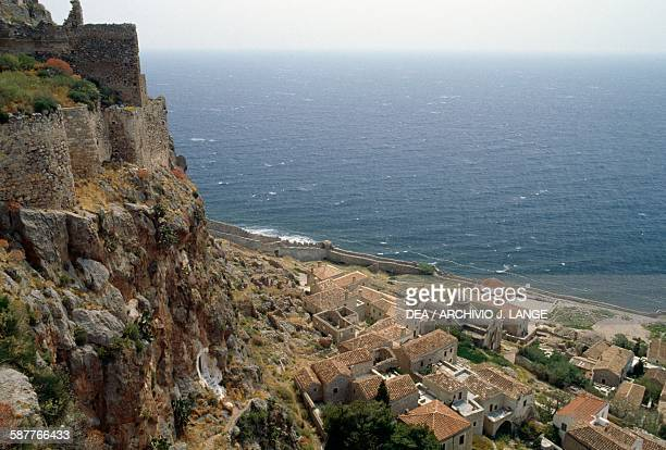 A view of Monemvasia from the fortress with the churches of Panagia Chryssafitissa and Agios Nicholaos in the background Peloponnese Greece