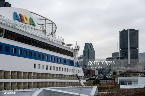 A view of Monreal business district with the AIDAdiva cruise ship in the foreground The ship operated by the German cruise line AIDA Cruises and...