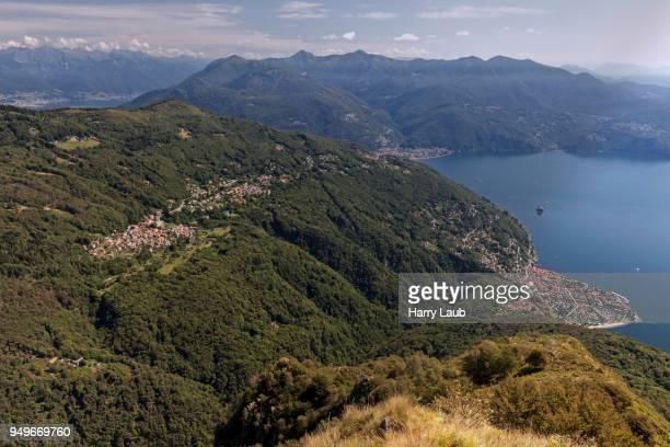 View of Monte Morissolo to Trarego-Viggiona and Lago Maggiore, Cannero Riviera, Verbano-Cusio-Ossola province, Piedmont Region, Italy