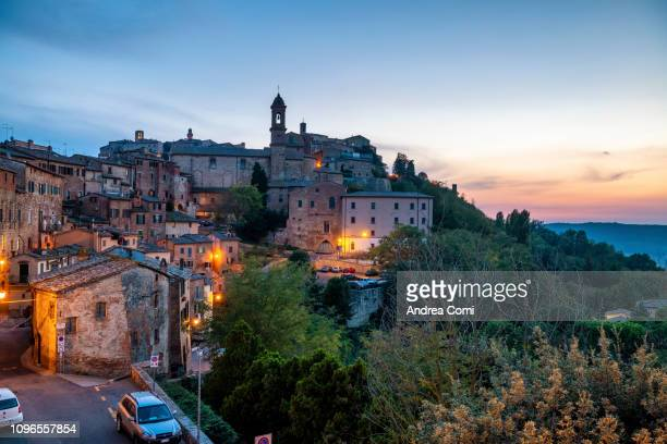 view of montepulciano village - siena italy stock pictures, royalty-free photos & images