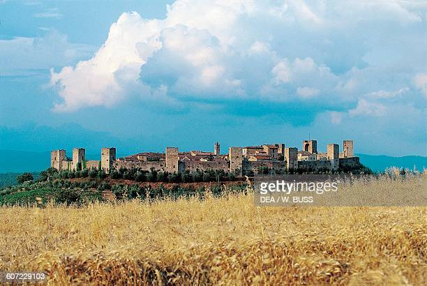 View of Monteriggioni Tuscany Italy