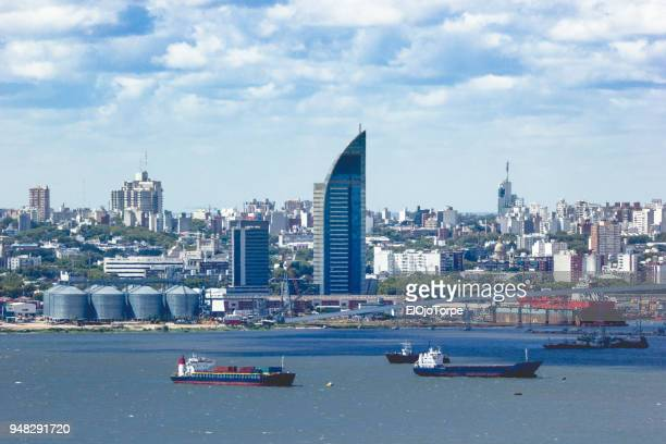 view of montevideo city and harbor from cerro de montevideo (montevideo's hill) - montevideo stock pictures, royalty-free photos & images