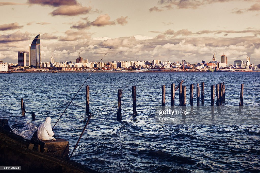 View of Montevideo from Montevideo bay. : Stock Photo