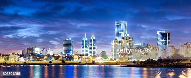 view of montevideo skyline in puertito del buceo, montevideo, uruguay - montevideo stock pictures, royalty-free photos & images