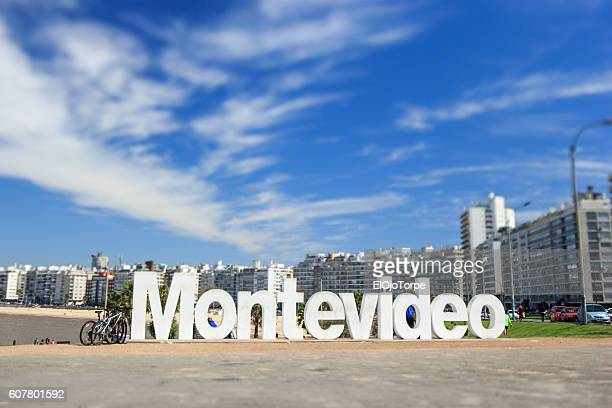 view of montevideo's sign, montevideo, uruguay - montevideo stock pictures, royalty-free photos & images