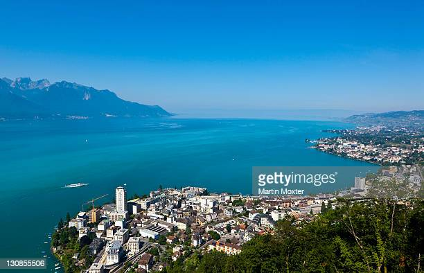 view of montreux on lake geneva, montreux, canton vaud, switzerland, europe - vaud canton stock pictures, royalty-free photos & images