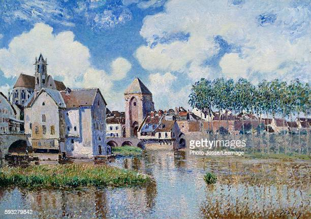 View of Moret sur Loing Painting by Alfred Sisley 1891 Oil on canvas 090 x 056 m Private collection