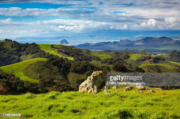 view of morro bay from a country road - central california stock pictures, royalty-free photos & images