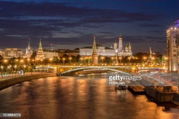 view of moscow at twilight. - denkmal stock-fotos und bilder