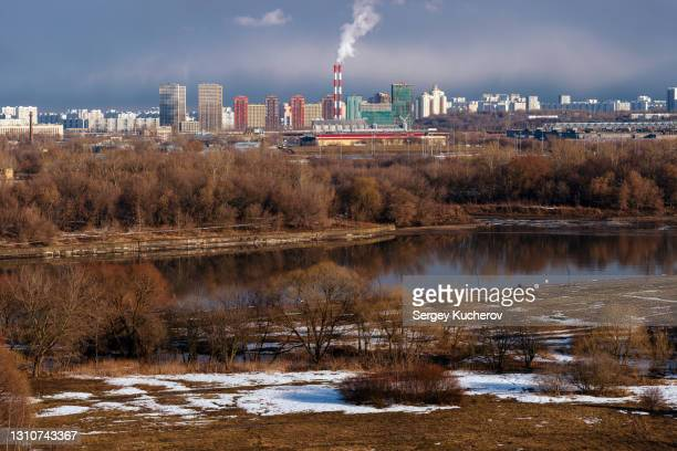 view of moscow districts from kolomenskoye park - district heating plant stock pictures, royalty-free photos & images