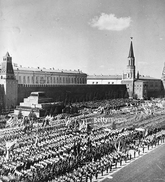 A view of Moscow's Red Square on May Day Moscow Russia 1950